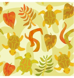 seamless pattern with stylized tortoise and plants vector image vector image