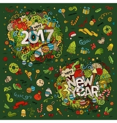 Set of 2017 and New Year hand lettering and vector image