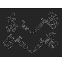Set of 4 tattoo machines chalk on blackboard vector