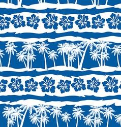 Tropical frangipani with beach palms seamless vector image vector image