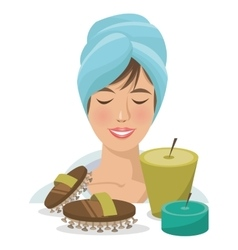 woman towel spa massage and therapy vector image