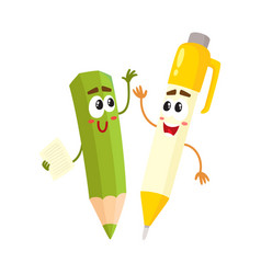 cute funny smiling pen and pencil characters vector image vector image