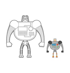 Cyborg Warrior coloring book Man machine from vector image