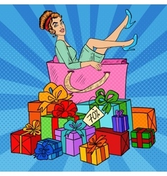 Pop Art Woman in Shopping Bag with Gifts vector image vector image