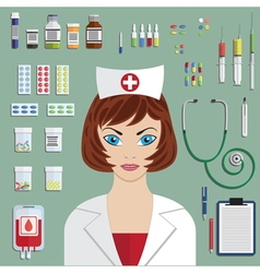 Set of medical icons with nurse portrait vector image vector image