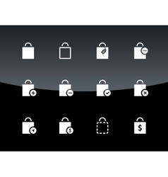 Shopping bag icons on black background vector image vector image