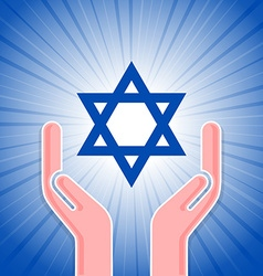 Star of David with hands vector image