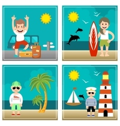 Summer set of Holiday sea travel vector image vector image
