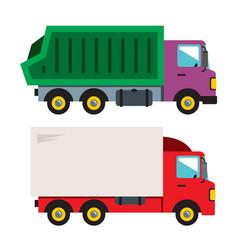 trucks flat style colorful cartoon vector image