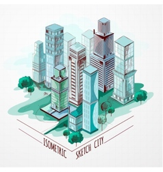 Isometric Sketch City Colored vector image vector image