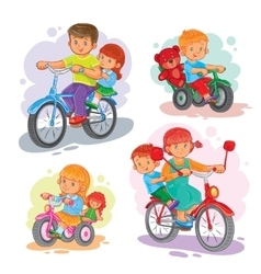 Set of icons small children on bicycles vector image