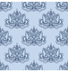Stylized blue indian lotus seamless pattern vector image