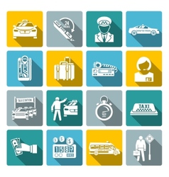 Taxi icons white set vector image vector image