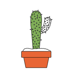 color sections silhouette of cactus with big vector image