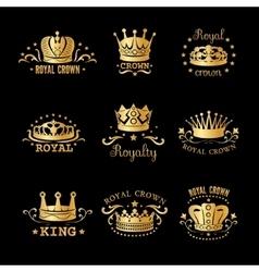 Crown logo set vector