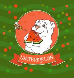cute bear eating a slice of watermelon vector image