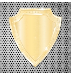 Golden shield on perforated background vector image