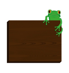 Green tree frog sitting on wood background vector