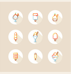 ice cream and popsicle circle icons vector image vector image