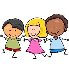 multicultural children cartoon vector image