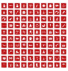 100 children icons set grunge red vector