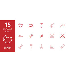 15 sharp icons vector image