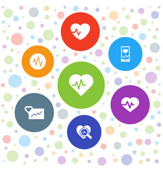 7 heartbeat icons vector