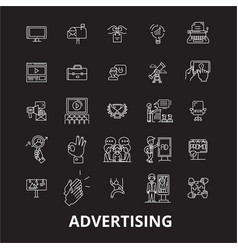 advertising editable line icons set on vector image
