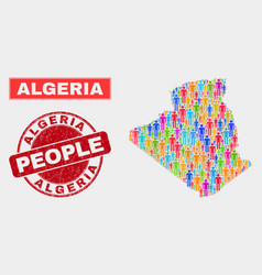 Algeria map population people and corroded seal vector