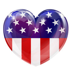 american flag love heart vector image