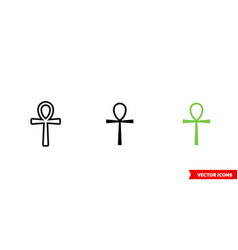 Ankh symbol icon 3 types color black and white vector