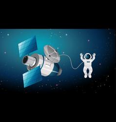 Astronaut and satellite scene vector