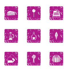 automated teller icons set grunge style vector image