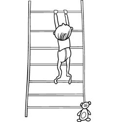 Baby boy climbing on bookcase for coloring book vector