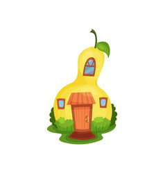 bright cartoon house in form of yellow pear vector image