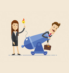 business woman is setting on fire the cannon to vector image