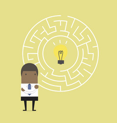 businessman with maze and finding direction vector image