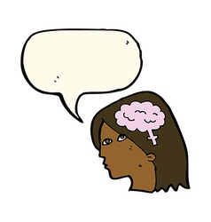 Cartoon female head with brain symbol with speech vector