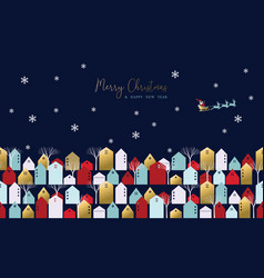 christmas and new year xmas town greeting card vector image