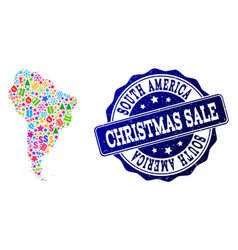 christmas sale composition of mosaic map of south vector image