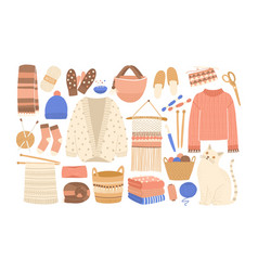 collection of winter knitted clothes and knitting vector image