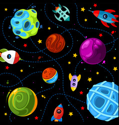Color children pattern with cute planets rockets vector