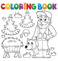 Coloring book forester theme 2 vector