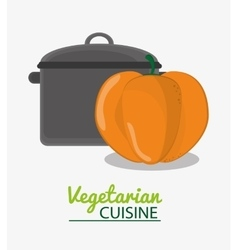 cooking pot and pumpkin vegetable vegetarian vector image