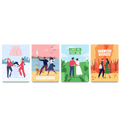 couples in love poster set vector image
