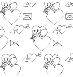 cute cupid shooting arrow heart letter love vector image