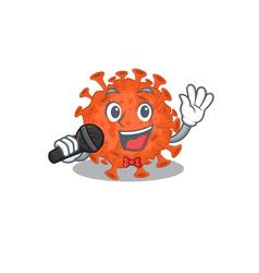 Cute electron microscope coronavirus sings a song vector