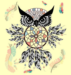 decorative dream catcher in graphic style with vector image
