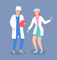 doctor talking with laboratory assistant about vector image