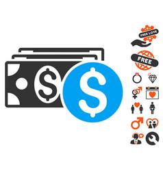 dollar cash icon with valentine bonus vector image
